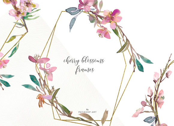 Watercolor Cherry Blossoms Frames Graphic Illustrations By Patishop Art