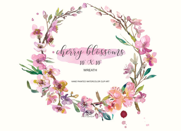 Watercolor Cherry Blossoms Wreath Graphic Illustrations By Patishop Art