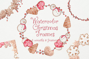 Download Free Watercolor Christmas Cookies Frames Graphic By Natalia Arkusha Creative Fabrica for Cricut Explore, Silhouette and other cutting machines.