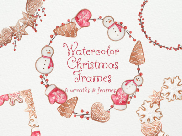Print on Demand: Watercolor Christmas Cookies Frames Graphic Illustrations By Natalia Arkusha