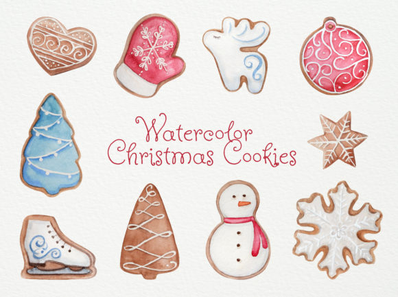 Print on Demand: Watercolor Christmas Cookies Set Graphic Illustrations By Natalia Arkusha