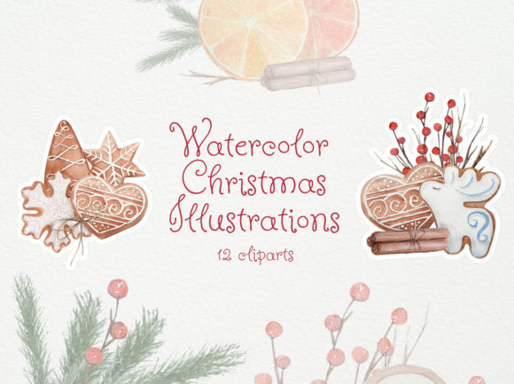 Download Free Watercolor Christmas Cookies Graphic By Natalia Arkusha for Cricut Explore, Silhouette and other cutting machines.