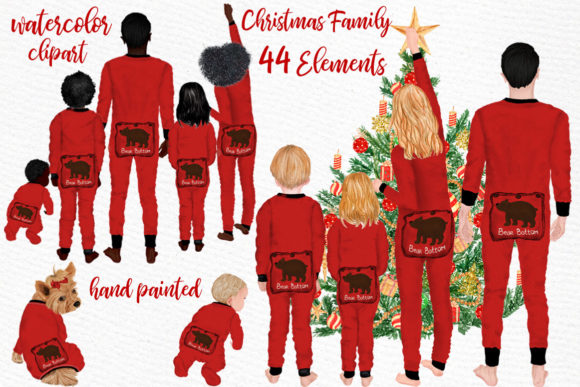 Watercolor Christmas Family Clipart Gráfico Ilustraciones Por LeCoqDesign