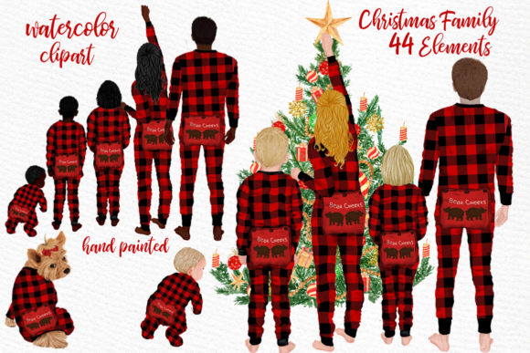 Watercolor Christmas Family Clipart Grafik Illustrationen von LeCoqDesign