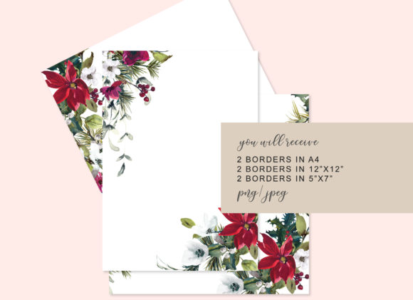 Watercolor Christmas Poinsettia Frames Graphic Backgrounds By Patishop Art - Image 2