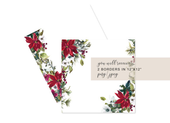 Watercolor Christmas Poinsettia Frames Graphic Backgrounds By Patishop Art - Image 3