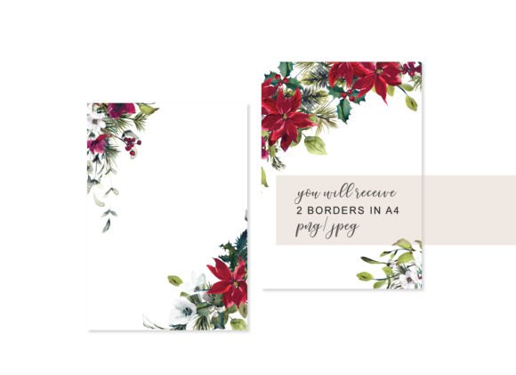 Watercolor Christmas Poinsettia Frames Graphic Backgrounds By Patishop Art - Image 4
