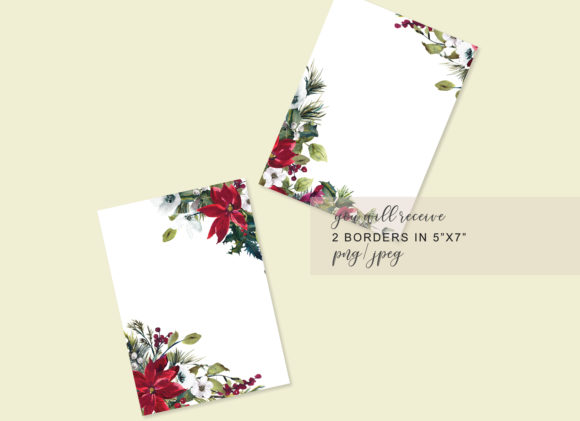 Watercolor Christmas Poinsettia Frames Graphic Backgrounds By Patishop Art - Image 6