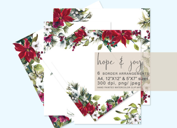 Download Free Watercolor Christmas Poinsettia Frames Graphic By Patishop Art for Cricut Explore, Silhouette and other cutting machines.