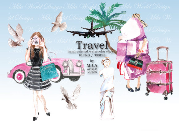Watercolor Clip Art Travel Clipart Graphic Illustrations By MilaWorldDesing
