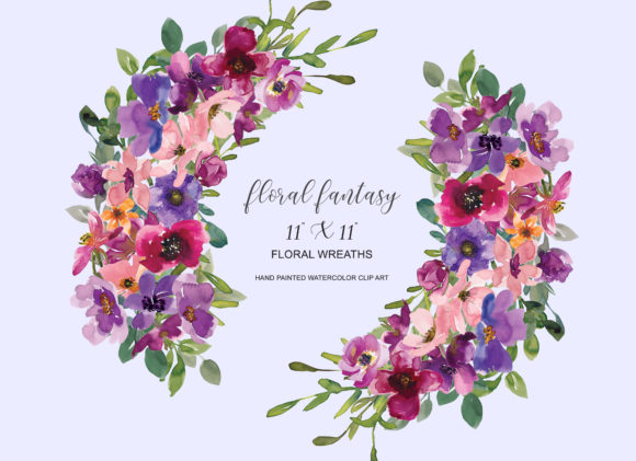 Download Free Watercolor Colorful Flowers Wreath Graphic By Patishop Art for Cricut Explore, Silhouette and other cutting machines.