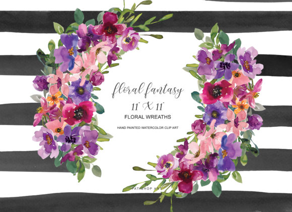 Watercolor Colorful Flowers Wreath Graphic Illustrations By Patishop Art