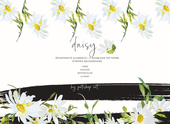 Watercolor Daisy Clip Art - Hand Painted Graphic Illustrations By Patishop Art - Image 3