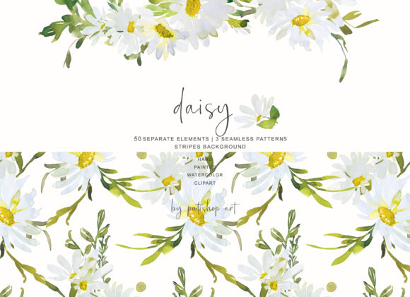 Watercolor Daisy Clip Art - Hand Painted Graphic Illustrations By Patishop Art - Image 5