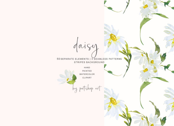 Watercolor Daisy Clip Art - Hand Painted Graphic Illustrations By Patishop Art - Image 8
