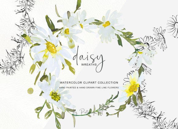 Watercolor Daisy Wreath Clip Art Set Graphic Download