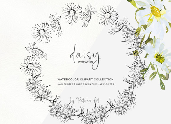 Watercolor Daisy Wreath Clip Art Set Graphic Item