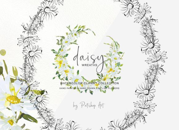Watercolor Daisy Wreath Clip Art Set Graphic Design