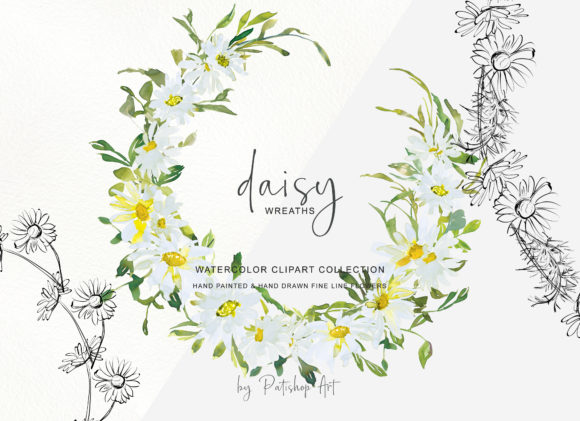 Watercolor Daisy Wreath Clip Art Set Graphic Preview