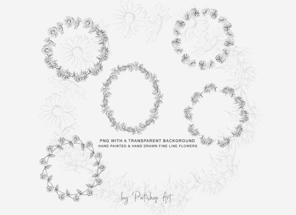 Watercolor Daisy Wreath Clip Art Set Graphic Image