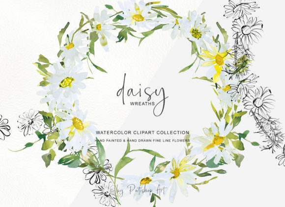 Watercolor Daisy Wreath Clip Art Set Graphic