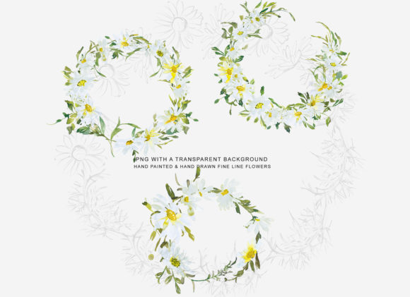 Watercolor Daisy Wreath Clip Art Set Graphic Design Item