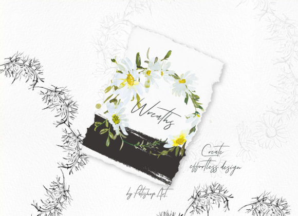 Watercolor Daisy Wreath Clip Art Set Graphic Downloadable Digital File