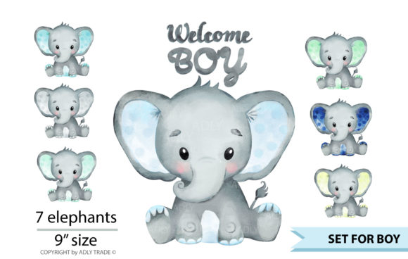 Watercolor Elephant Boy  Graphic Download