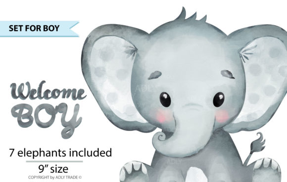 Print on Demand: Watercolor Elephant Boy Clipart 7 Colors Graphic Illustrations By adlydigital - Image 3
