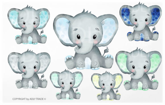 Print on Demand: Watercolor Elephant Boy Clipart 7 Colors Graphic Illustrations By adlydigital