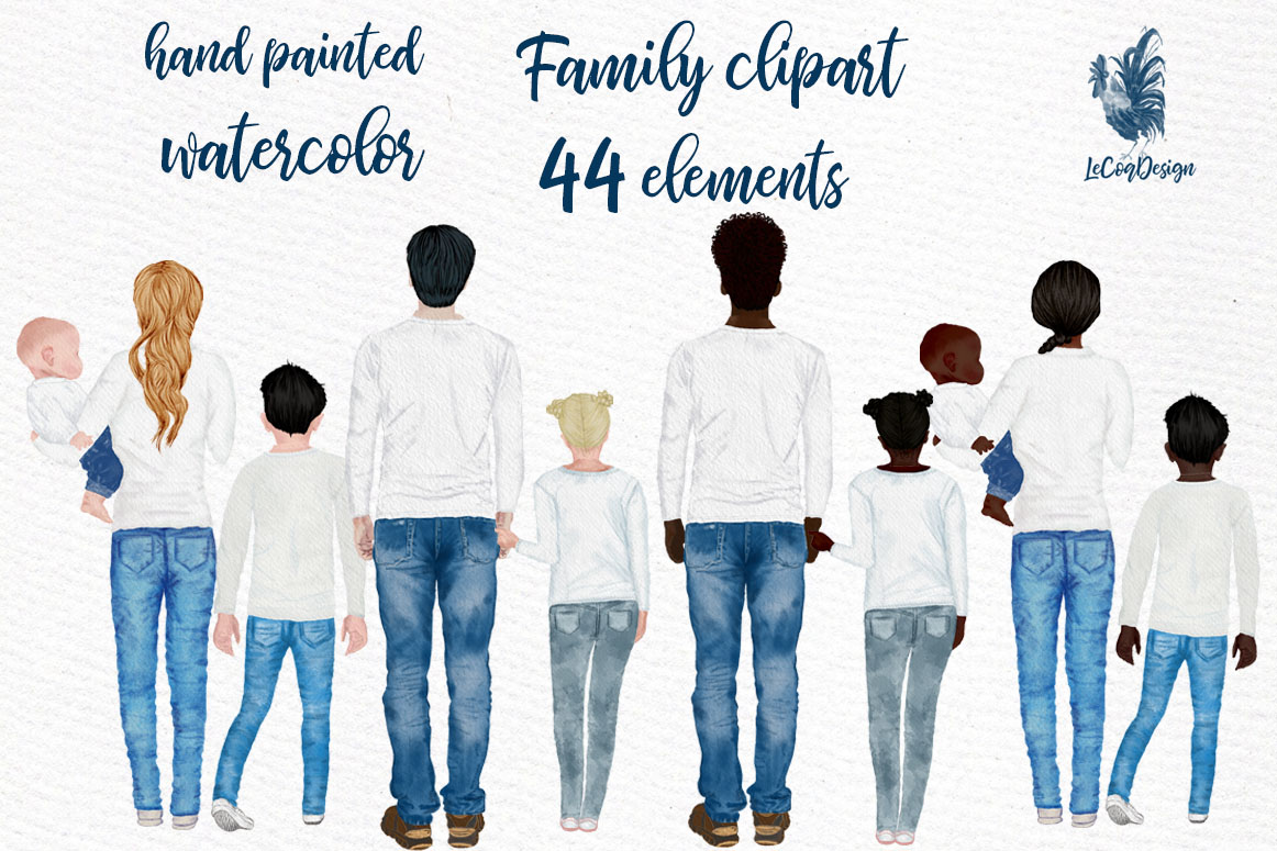 Download Free Watercolor Family Clipart Graphic By Lecoqdesign Creative Fabrica for Cricut Explore, Silhouette and other cutting machines.