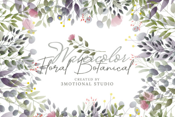 Print on Demand: Watercolor Floral Batonicals Graphic Illustrations By 3Motional