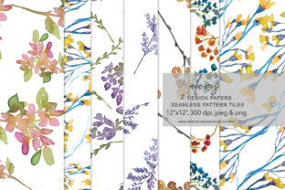 Download Free Watercolor Floral Seamless Pattern Set Graphic By Patishop Art for Cricut Explore, Silhouette and other cutting machines.