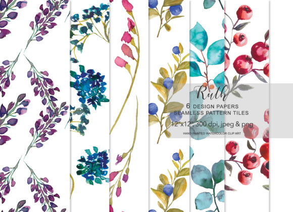Watercolor Floral Seamless Pattern  Set Graphic Patterns By Patishop Art