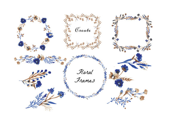 Watercolor Floral Wreath and Stock Graphic Print Templates By little scar - Image 5
