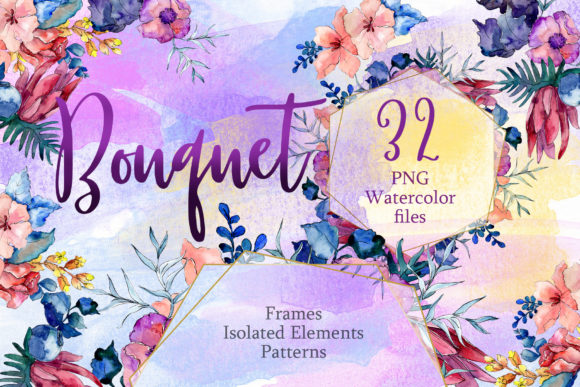 Print on Demand: Watercolor Flower Bouquet PNG Set Graphic Illustrations By MyStocks