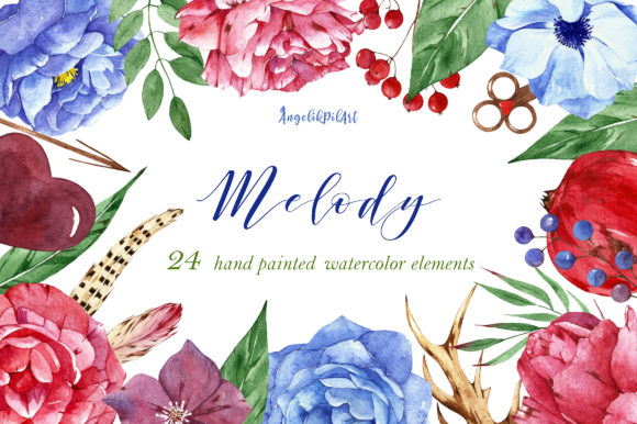 Print on Demand: Watercolor Flower Clipart Melody Graphic Illustrations By Angela Pylypenko
