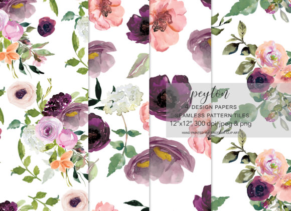 Watercolor Flowers Seamless Pattern Set Graphic Patterns By Patishop Art