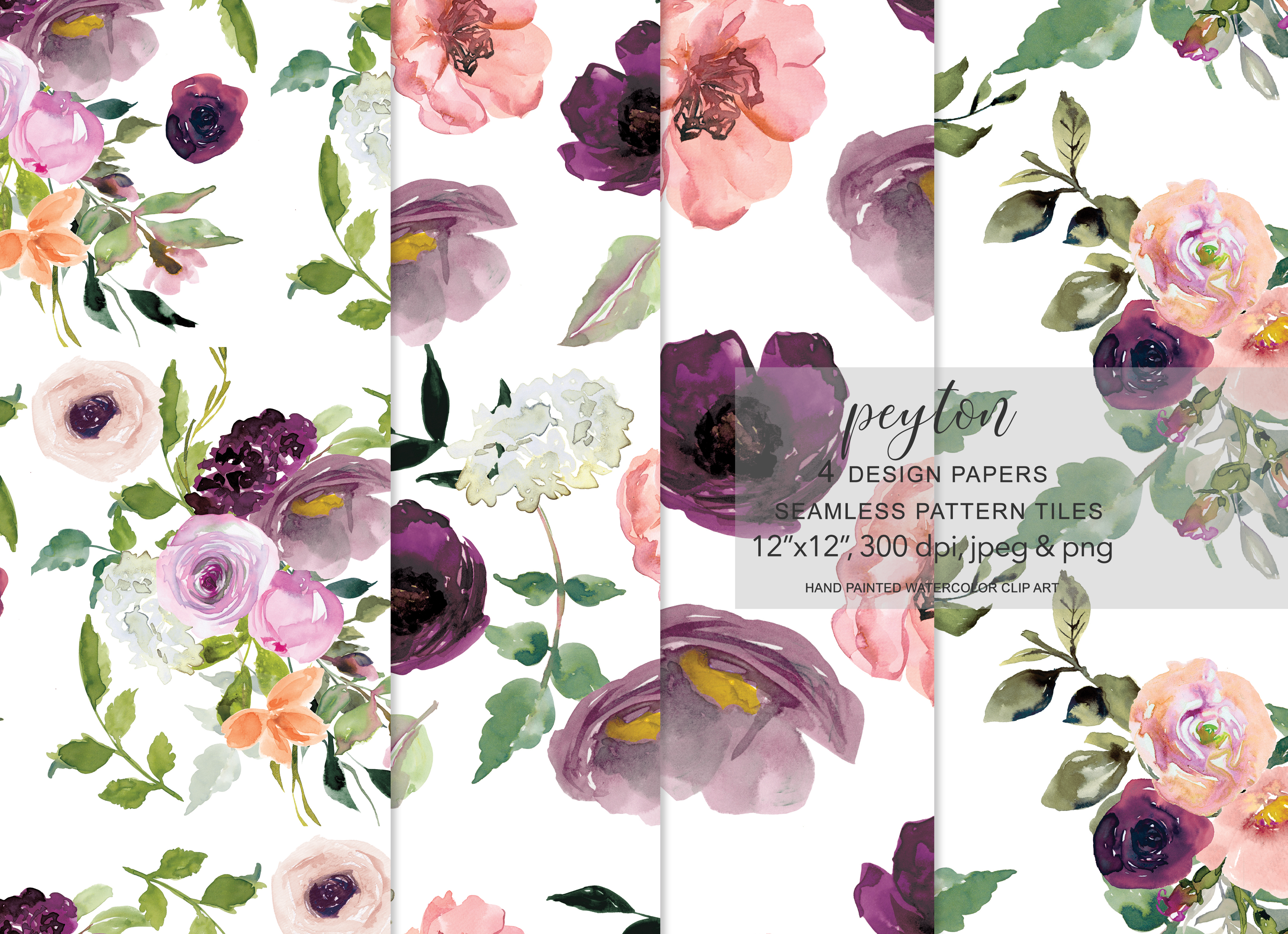 Download Free Watercolor Flowers Seamless Pattern Set Graphic By Patishop Art Creative Fabrica SVG Cut Files