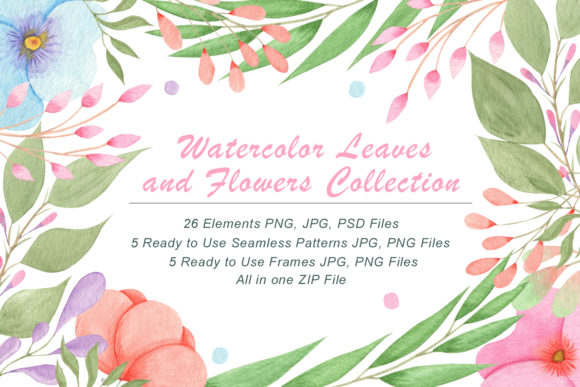 Print on Demand: Watercolor Flowers and Leaves Graphic Illustrations By tanatadesign