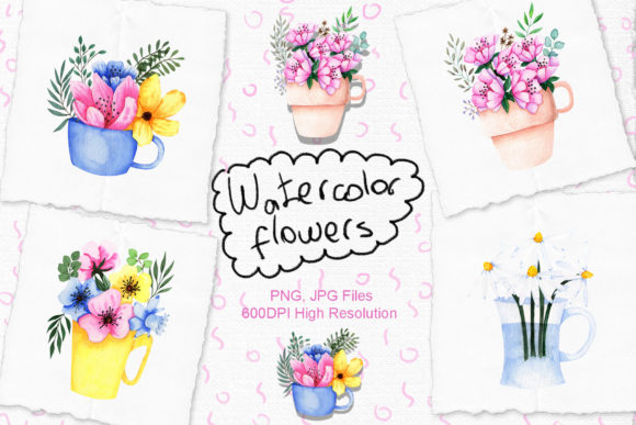 Print on Demand: Watercolor Flowers in Cup Graphic Illustrations By tanatadesign
