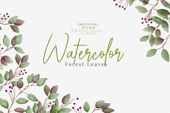 Print on Demand: Watercolor Forest Leaves Graphic Illustrations By 3Motional