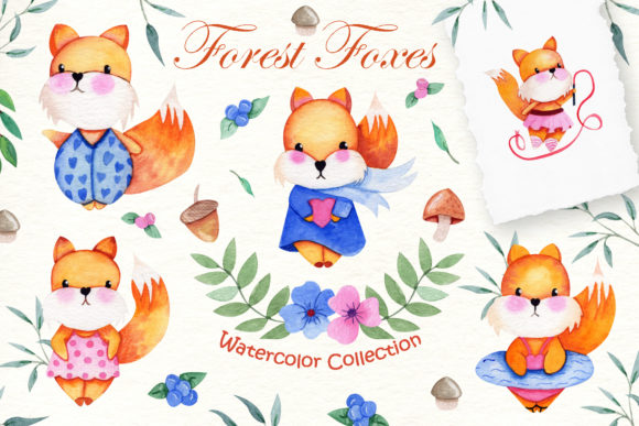 Watercolor Foxes Collection Graphic By tanatadesign