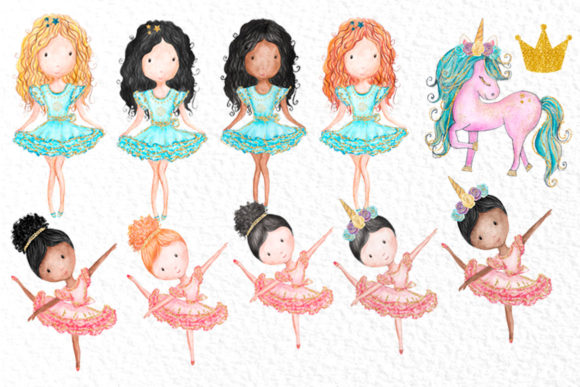 Download Free Watercolor Girls Clipart Cute Unicorns Grafico Por Vivastarkids for Cricut Explore, Silhouette and other cutting machines.