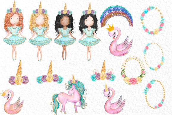 Watercolor Girls Clipart Cute Unicorns Graphic Illustrations By vivastarkids - Image 3