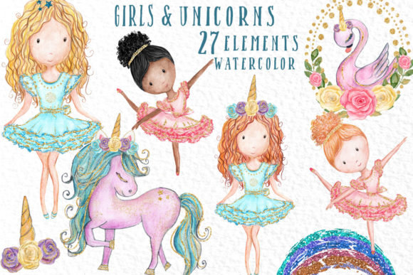 Watercolor Girls Clipart Cute Unicorns Graphic Illustrations By vivastarkids