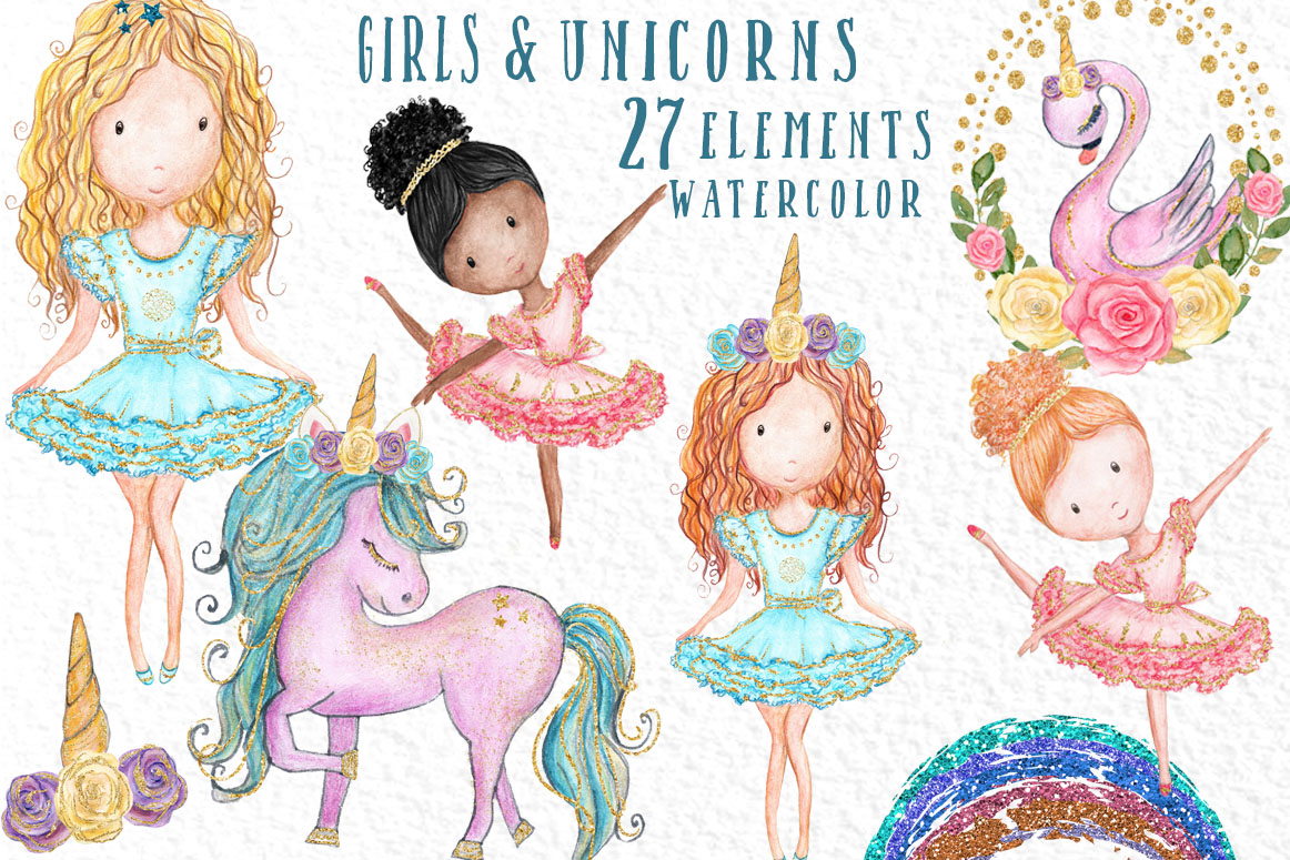 Download Free Watercolor Girls Clipart Cute Unicorns Graphic By Vivastarkids for Cricut Explore, Silhouette and other cutting machines.