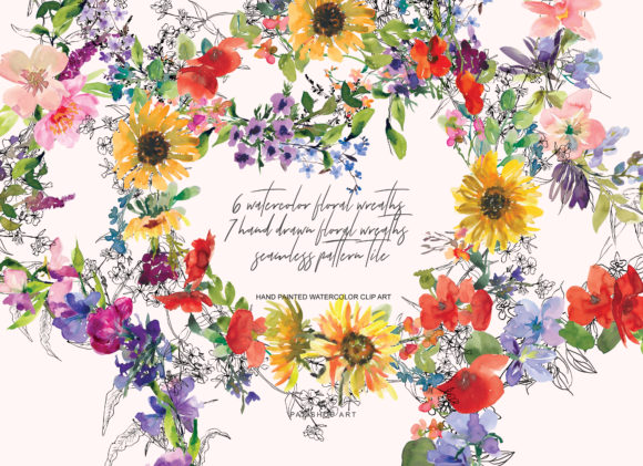 Watercolor Hand Drawn Wreath Collection Graphic Illustrations By Patishop Art