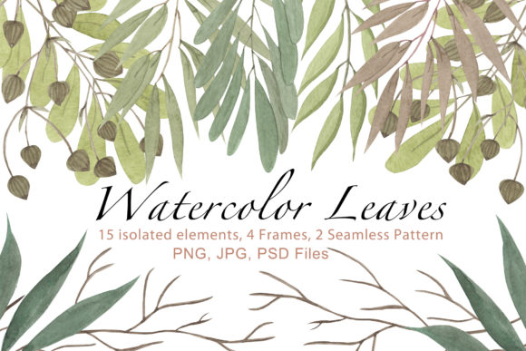Print on Demand: Watercolor Leaves SET Graphic Illustrations By tanatadesign