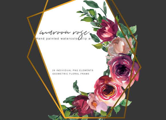 Watercolor Maroon Rose Clipart Set Graphic Illustrations By Patishop Art